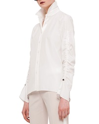 Akris Punto Ruched Sleeve Button Blouse