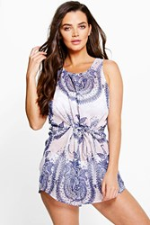 Boohoo China Paisley Print Playsuit Multi