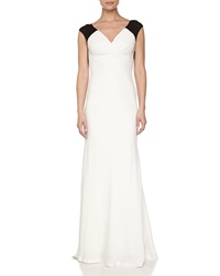 Vera Wang Sequin Textured Bodice Gown White Black