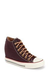 Women's Converse Chuck Taylor All Star 'Lux' Hidden Wedge High Top Sneaker Black Cherry Biscuit Canvas