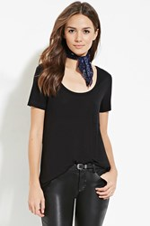Forever 21 Contemporary Raw Cut Pocket Tee Black