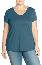 Sejour Plus Size Women's Short Sleeve V Neck Tee Blue Wing