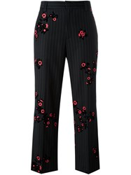Marc Jacobs Pinstripe And Floral Trousers Black