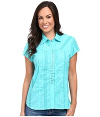 Scully Honey Creek Lace Cap Sleeve Top W Flirty Snap Front Turquoise Women's Clothing Blue