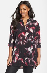 Sejour Print Roll Sleeve Tunic Plus Size Black Red Textured Print