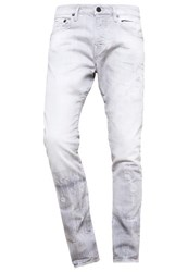 True Religion Rocco Slim Fit Jeans Grey Destroyed Grey Denim