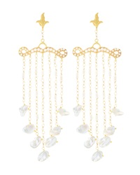 Azaara Florentine Pearl Chain Chandelier Earrings