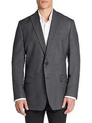 Calvin Klein Slim Fit Micro Checkered Silk And Wool Sportcoat Charcoal