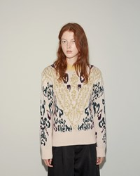 Sacai Knit Jacquard Pullover Pink Beige