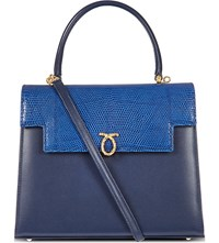 Launer Traviata Leather Tote Indigo Calf Blue