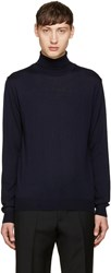 M.R. Editions Navy Merino Wool Turtleneck