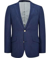 Austin Reed Contemporary Fit Linen Jacket Blue