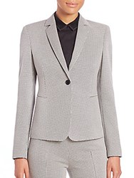 Akris Punto Mini Houndstooth Jersey One Button Blazer Black Cream
