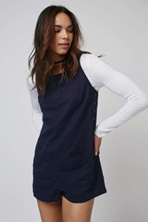 Topshop Metal Button Playsuit Navy Blue
