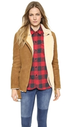 Just Female Chin Shearling Suede Jacket Camel