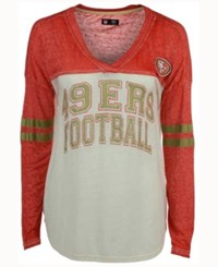 G3 Sports Women's San Francisco 49Ers Field Position Long Sleeve T Shirt Red Cream
