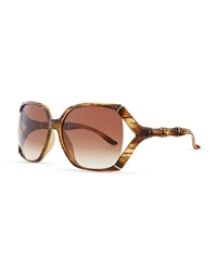Gucci Open Bamboo Temple Sunglasses Brown Horn