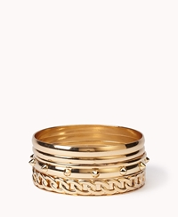 Forever 21 Spike And Chain Bangle Set