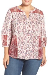 Lucky Brand Plus Size Women's Mixed Floral Print Split Neck Top