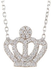 Amorium Sterling Silver Cz Crown Pendant Necklace Metallic