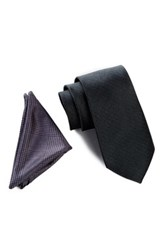 Wurkin Stiffs Solid Tie And Pocket Square Set Black