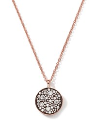 18K Rose Gold Stardust Flower Pendant Necklace With Diamonds 0.88 Carats Ippolita Pink