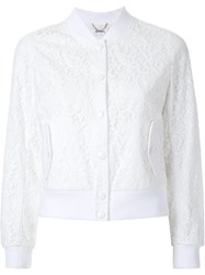 Muveil Lace Bomber Jacket White