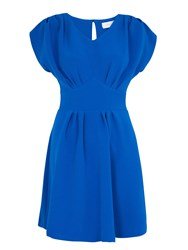 Almari Pleat V Neck Tie Back Dress Blue