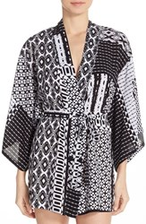 Women's Josie Print 'Happi Coat' Robe Black