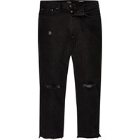 River Island Mens Black Ripped Dean Straight Jeans