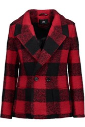 Line Martin Checked Wool Blend Jacket Red