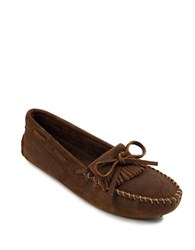 Minnetonka Kilty Suede Driver Moccasins Chocolate Brown