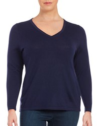 Lord And Taylor Plus Merino Wool V Neck Sweater Evening Blue