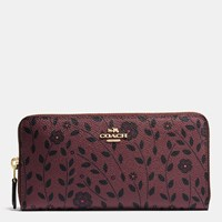 Coach Accordion Zip Wallet In Willow Floral Print Canvas Light Gold Burgundy