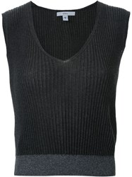 Tome Ribbed V Neck Knitted Top Grey
