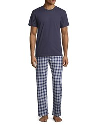 Neiman Marcus Men's Two Piece Boxed Pajama Set W Flannel Pants Navy Assorted