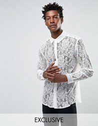 Reclaimed Vintage Lace Shirt In Reg Fit White