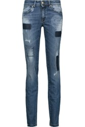 Just Cavalli Distressed Patchwork Low Rise Skinny Jeans Mid Denim