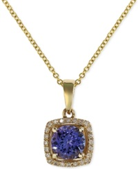 Effy Collection Violette By Effy Tanzanite 3 4 Ct. T.W. And Diamond Accent Pendant Necklace In 14K Yellow Gold Purple