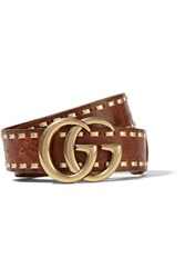 Gucci Embossed Leather Waist Belt Chocolate