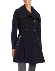 Guess Double Breasted Trapeze Coat Navy
