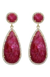 Susan Hanover Women's Semiprecious Stone Double Drop Earrings Fuchsia Gold
