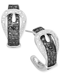 Victoria Townsend Sterling Silver Earrings Black Diamond Accent Buckle Earrings