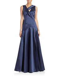 Black Halo Vaccaro Satin Gown Navy
