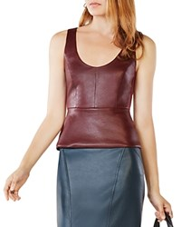 Bcbgmaxazria Cladiana Faux Leather Peplum Top Royal Port