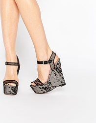 Paper Dolls Papers Dolls Bluebell Lace Peep Toe Platform Wedges Black