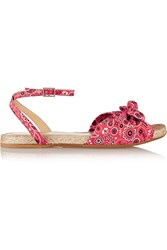 Charlotte Olympia Marina Printed Canvas Sandals Red