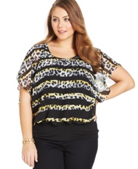 Style And Co. Plus Size Animal Print Blouson Top