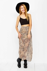 Ecote Chiffon Curved Hem Maxi Skirt Neutral Multi