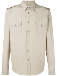 Gucci Poplin Military Duke Shirt Nude Neutrals